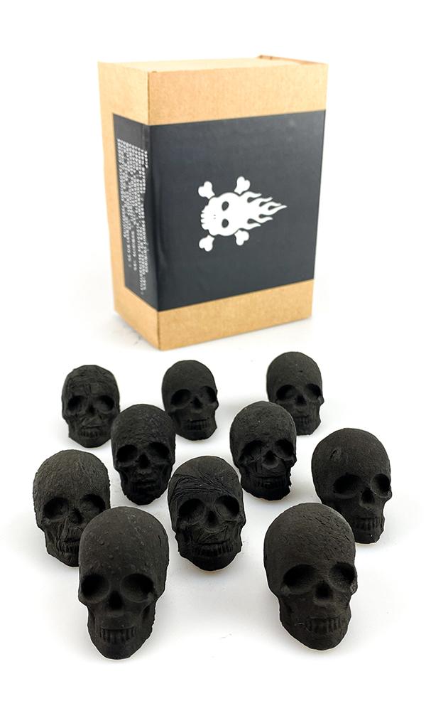 Uhlíky do vodní dýmky Skull dřevěné uhlí - 10 ks